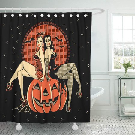 PKNMT Vintagestyle Line of Spooky Halloween Glamour Twins Sitting on Carved Pumpkin Waterproof Bathroom Shower Curtains Set 66x72 inch