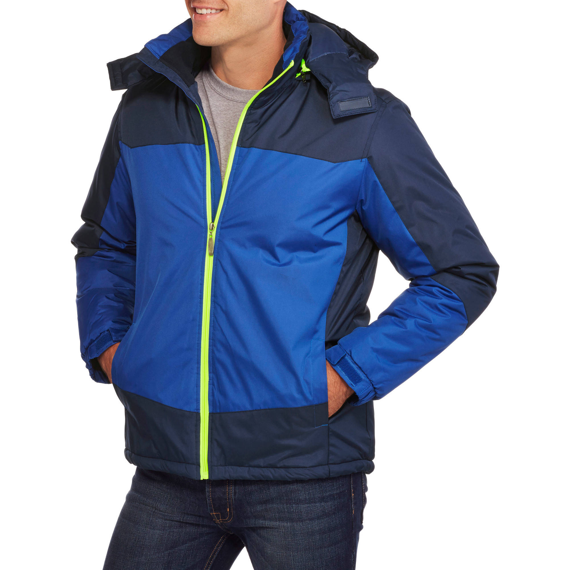 Climate Concepts Men's Colorblock Mid Weight Jacket with Removable Hood