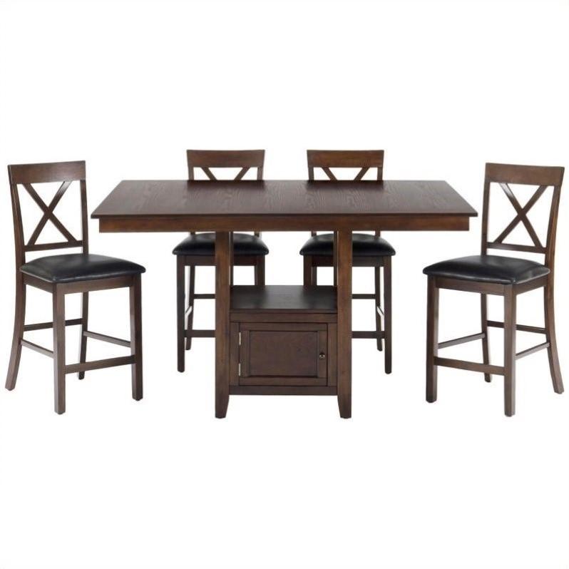 Jofran 5 Piece Counter Height Dining Room Set in Olsen Oak by Jofran