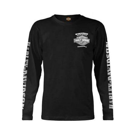 Men's Skull Lightning Crest Graphic Long Sleeve Shirt, Black, Harley Davidson Harley Davidson Skull Accessories