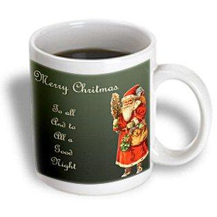 3dRose Merry Christmas to All with Victorian Era Santa Claus with Bag of Toys, Ceramic Mug, 11-ounce (Era Toy)