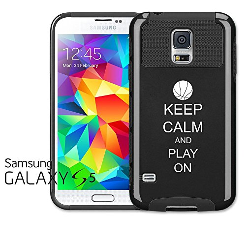 Samsung Galaxy S5 Shockproof Impact Hard Case Cover Keep Calm and Play On Basketball (Black),MIP
