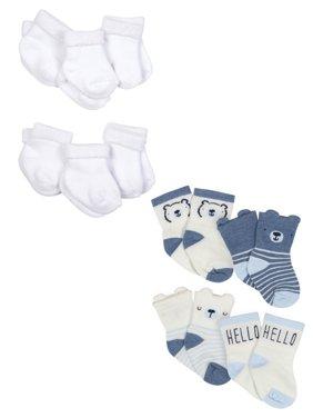 Gerber Baby Boys Organic Wiggle-Proof Terry Bootie Socks, 10-Pack