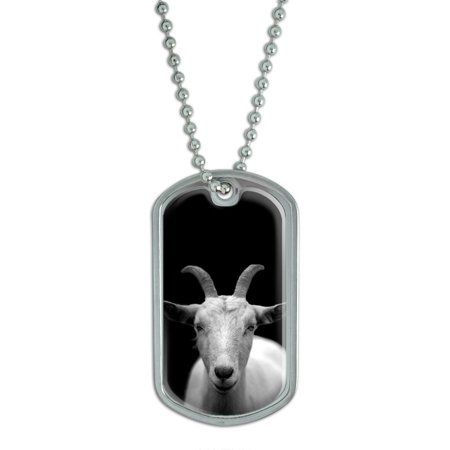 Goat Head - Black and White Dog Tag
