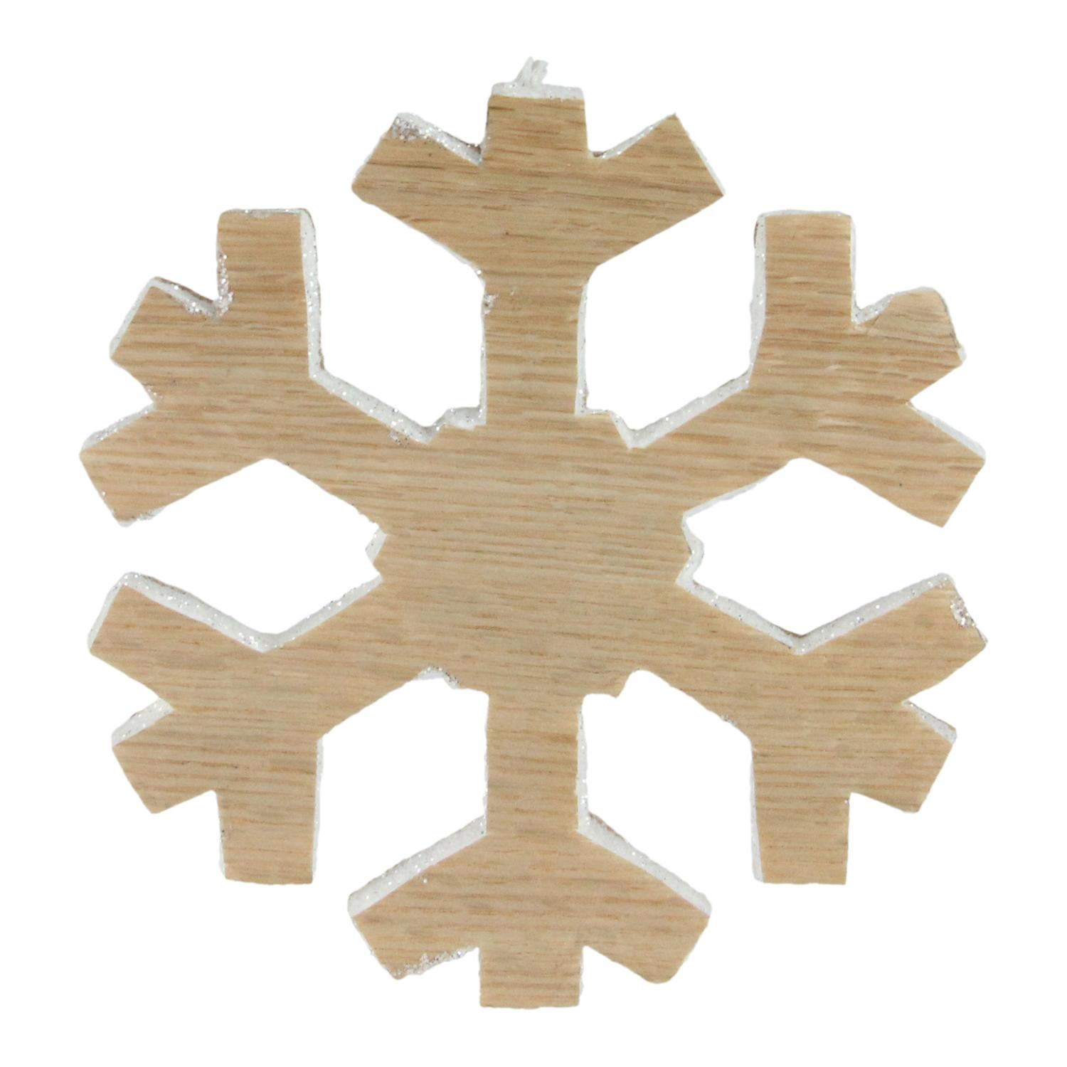 "7.5"" Faux Wood Grain Snowflake Christmas Decoration"