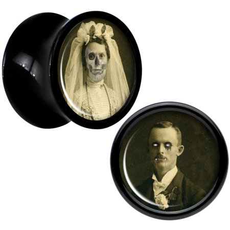 Body Candy Black Acrylic Undead Bride and Groom Halloween Plug Set of 2 0 Gauge (Halloween Bride And Groom Costumes)