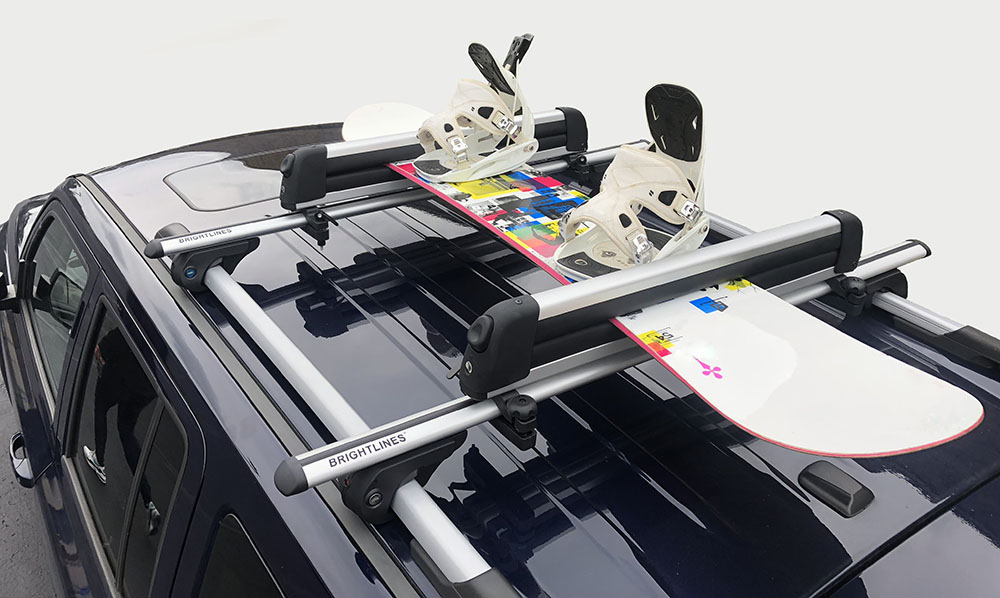 BRIGHTLINES Crossbars /& Ski Rack for 6 Skis 4 Snowboards Combo Compatible with 2014-2019 Jeep Cherokee
