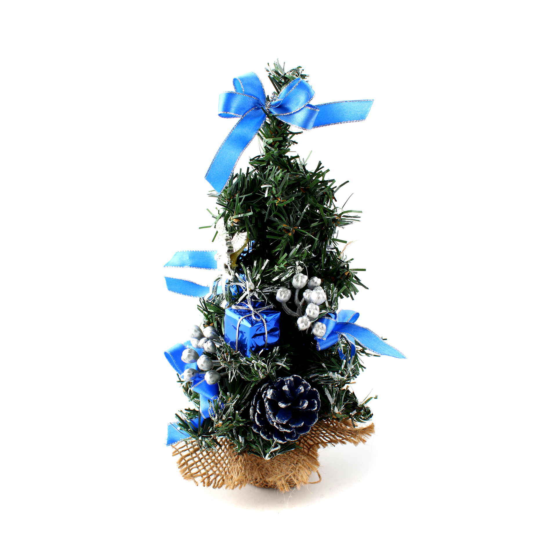 "10"" Mini Home Office Bedroom Livingroom Desk Top Artifical Christmas Tree with Pinecone Bows Gifts Ornaments Decorations"