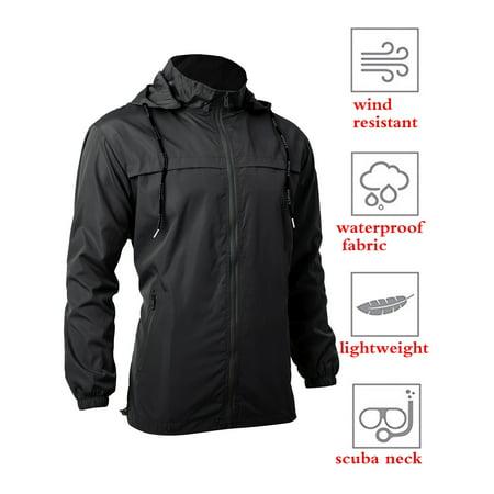 SAYFUT Men's Rain Jacket Lightweight Hooded Waterproof Windbreaker Cycling Running Raincoat , up to Size 8XL Mens Cycling Vest