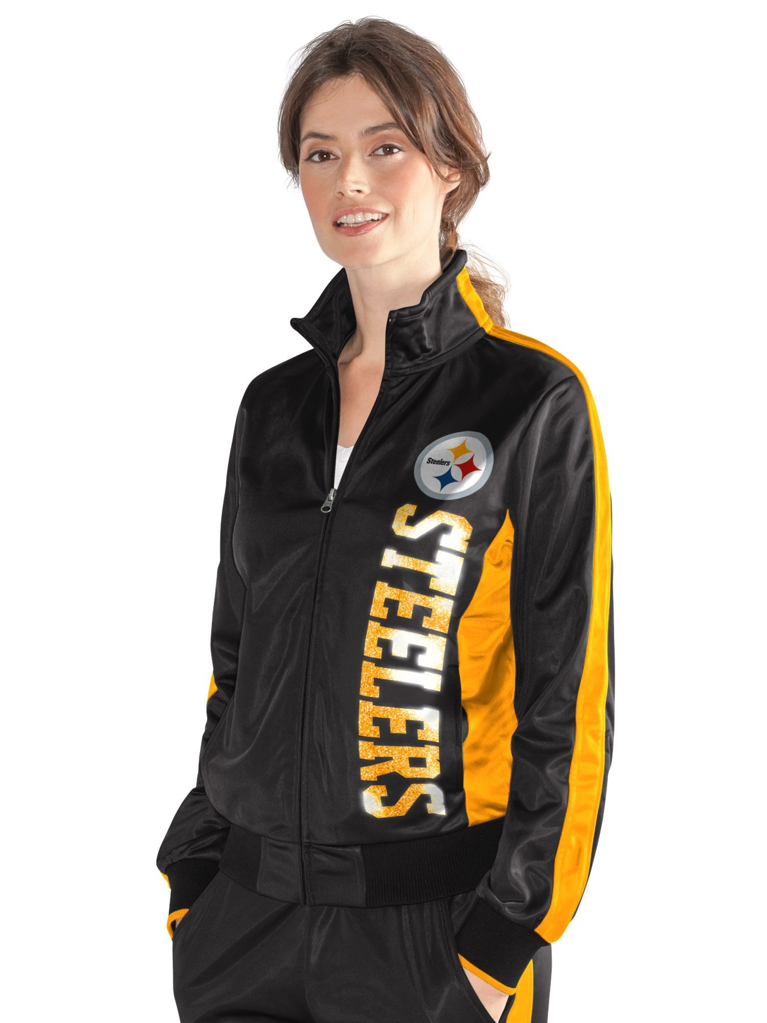 Pittsburgh Steelers Women's Black Gold MVP Full-Zip Track Jacket by G-III 4Her by Carl Banks
