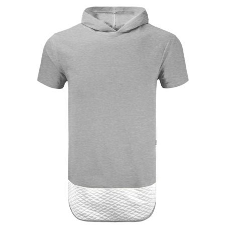 Quilted  Short Sleeve Pullover Hoodie ZIPPER ON THE