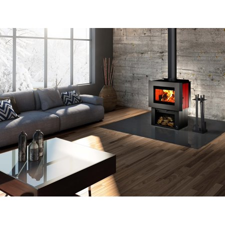 Osburn SOHO Wood Stove with Regular Pedestal, Ash Drawer and Red Enamel Decorative Side Panels ()