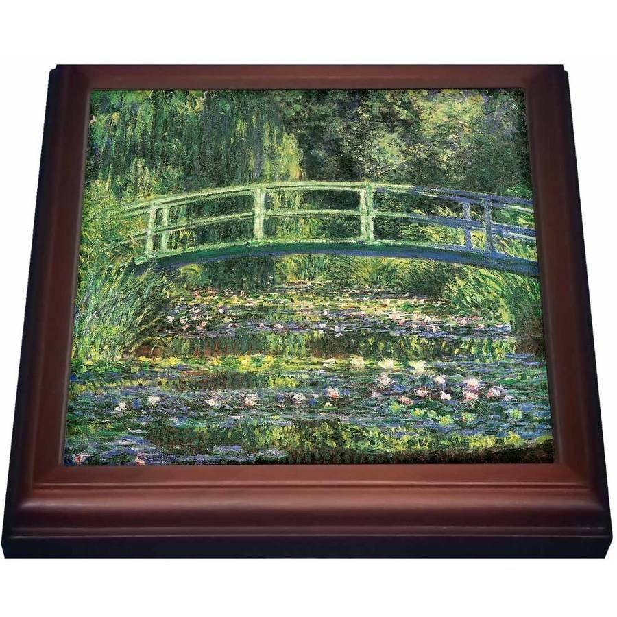 3dRose Water Lilies and Japanese Bridge by Claude Monet 1899, Trivet with Ceramic Tile, 8 by 8-inch