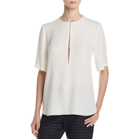 Theory Womens Silk Georgette Sheer Casual Top