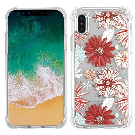 Insten Spring Daisies TPU Rubber Candy Skin Case Cover for Apple iPhone X edition 2017 5.8 Inch - Multicolor (Bundle with MIRROR Screen Protector)