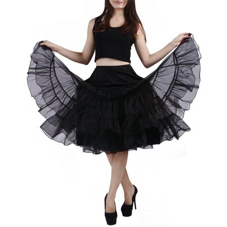 Halter Petticoat - Women's Petticoat Tutu Skirt Vintage Rockabilly Swing Dress Underskirt (L-XL, Black)