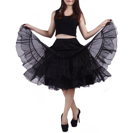 Women's Petticoat Tutu Skirt Vintage Rockabilly Swing Dress Underskirt (L-XL, Black)