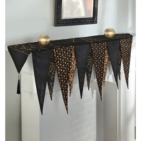 Halloween Mantel Decor Pinterest (Halloween Mantel Scarf, Fabric Pendants, Measures 72 Inches by 32 1/2)