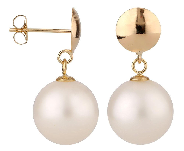 bridal earrings 7mm 7.5mm round Cultured freshwater pearl earrings 14k white gold post stud