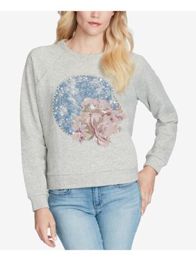JESSICA SIMPSON Womens Gray Graphic Mandala Long Sleeve Crew Neck Sweater  Size: M