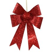 "12"" Red Sequin and Glitter Bow Christmas Ornament"