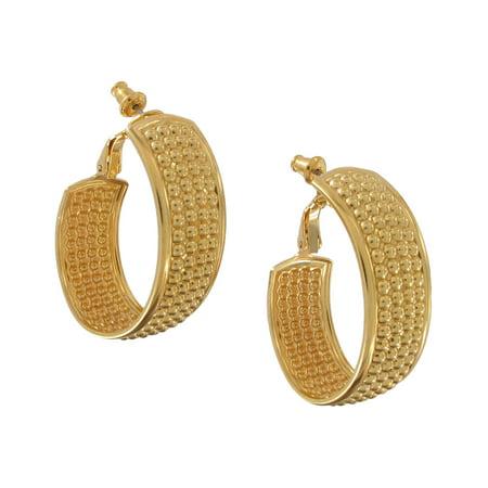 Women's Large Gold Tone Hoop Pierced Earrings Beaded Loop