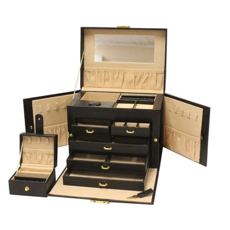 Luxurious Large Black Leather Jewelry Box Travel Case Storage with Mirror & Lock ()