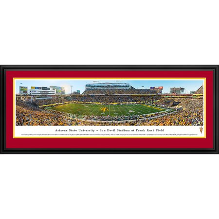 Arizona State Football - 50 Yard Line in Sun Devils Stadium - Blakeway Panoramas NCAA College Print with Deluxe Frame and Double Mat