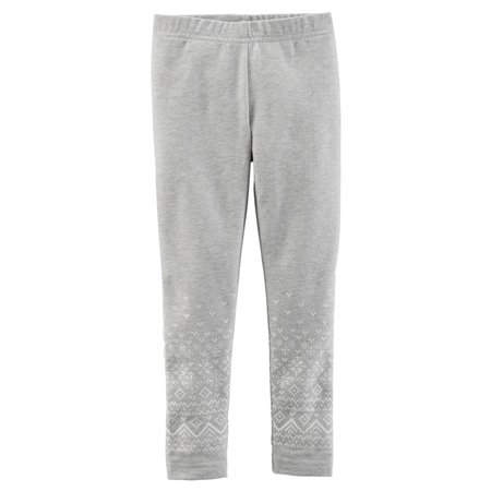 Carters Baby Clothing Outfit Girls Sparkle Leggings Grey Fairisle - Girls Sparkle Leggings