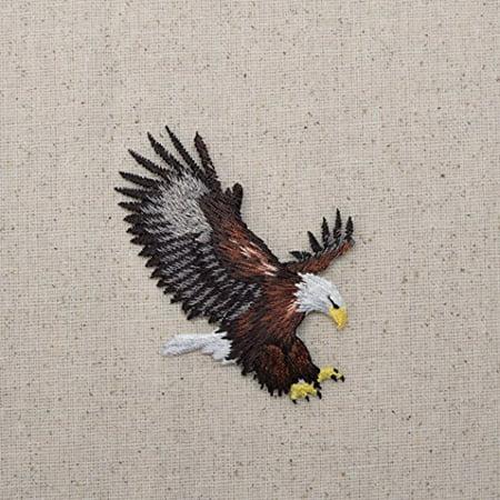 Medium - Bald Eagle - Landing - Iron On Embroidered Applique Patch - Mens Eagle Applique