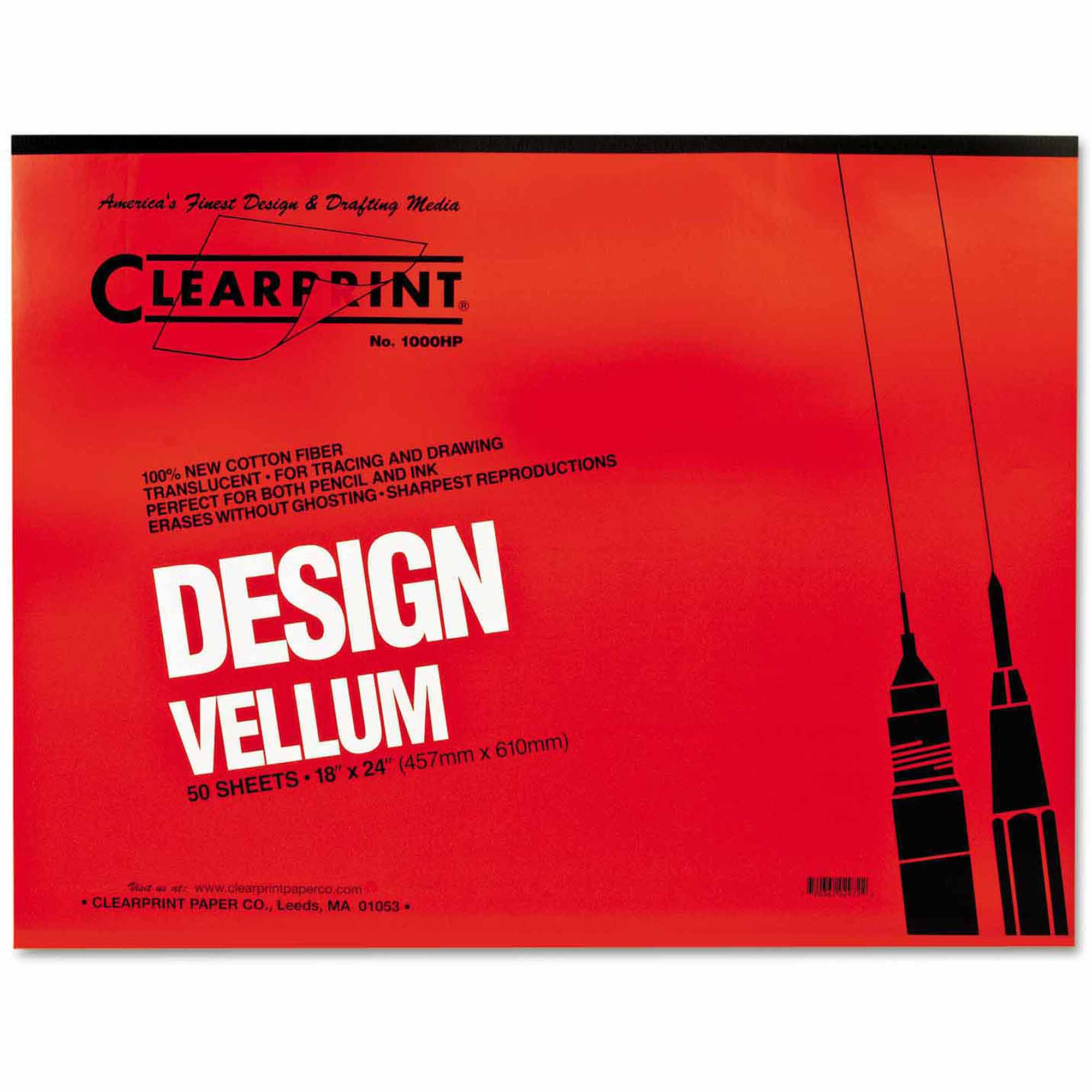"Clearprint Design Vellum Paper, 16 lbs, White, 18"" x 24"", 50 Sheets/Pad"