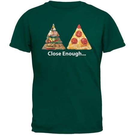 Close Enough Food Pyramid And Pizza Dark Green Adult  T-Shirt
