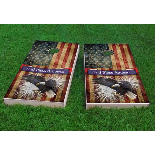 Custom Cornhole Boards Bald Eagle God Bless America Cornhole Game (Set of 2) by Custom Cornhole Boards