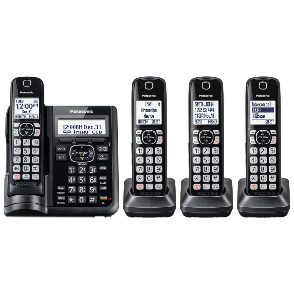 Panasonic Cordless Phones With Answering Machine 4 Handsets Walmart Com Walmart Com