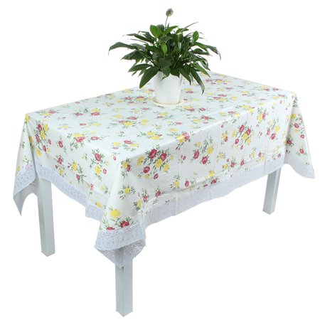 Pvc Flower Pattern 72 X 54 Inch Tablecloth Cover Water Oil