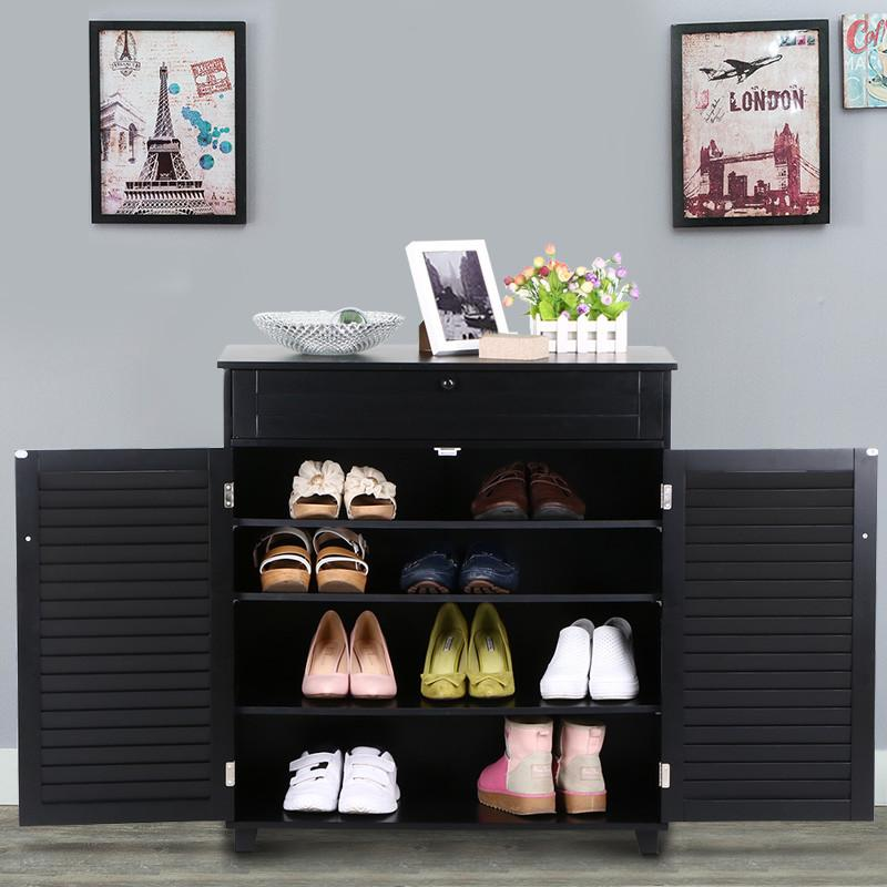 yaheetech 3 shelves shoestorage cabinet with 1 drawer 2 doors black