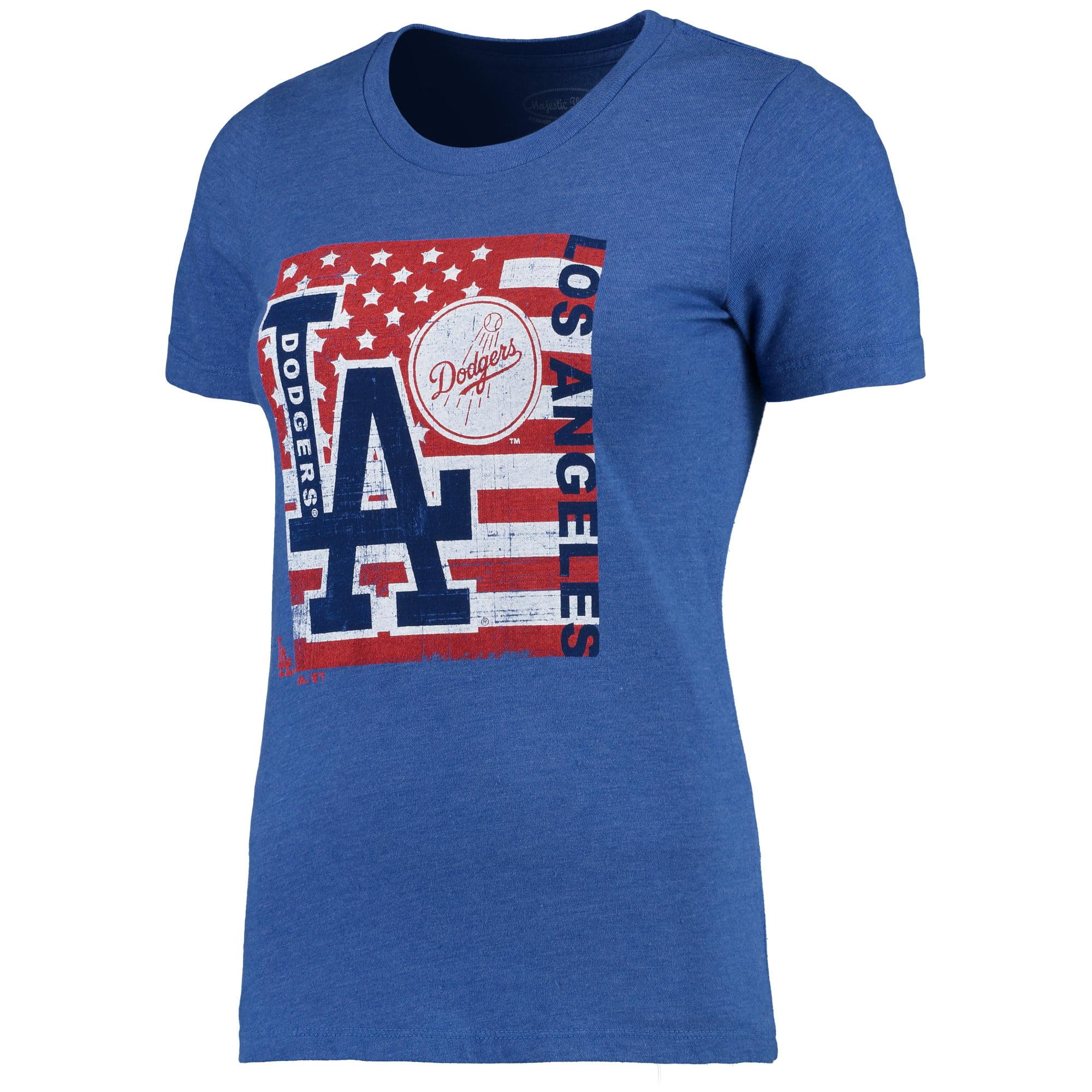Los Angeles Dodgers Majestic Threads Women's Stars & Stripes Flag T-Shirt - Royal