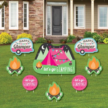 Let's Go Glamping - Yard Sign & Outdoor Lawn Decorations - Camp Glamp Party or Birthday Party Yard Signs - 8 Ct