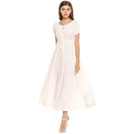 363b50112ef New Women Fashion O-Neck Short Sleeve Solid Maxi Long Dress Front Lace-up  Pleated Long Dress for Women HFON - Walmart.com