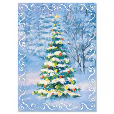 Snowy Tree Christmas Cards - Set of 18