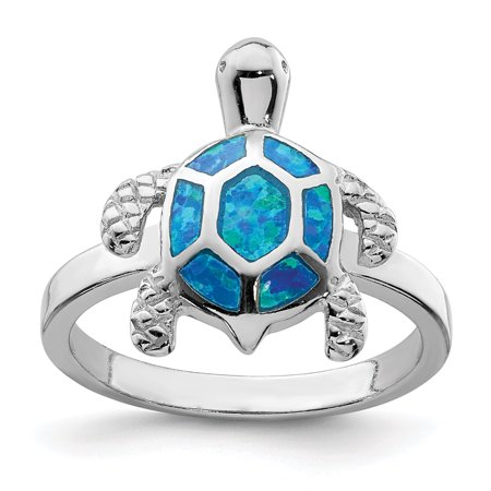 Rhodium Turtle (Sterling Silver Rhodium Created Blue Opal Turtle Ring Size 6 )