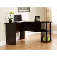 Ameriwood L-Shaped Office Desk with Side Storage, Russet Cherry Finish