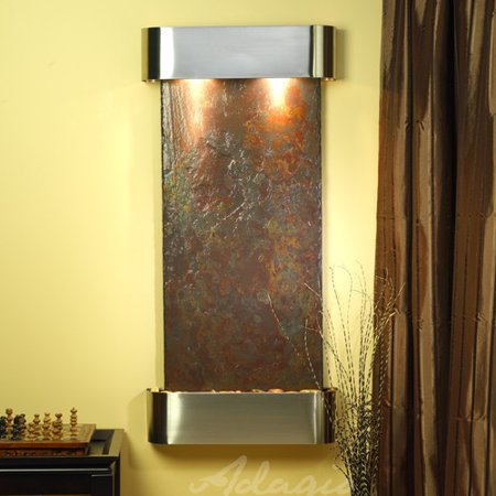 - Adagio Fountains Cascade Springs Natural Stone/Metal Square Edges Wall Fountain with Light