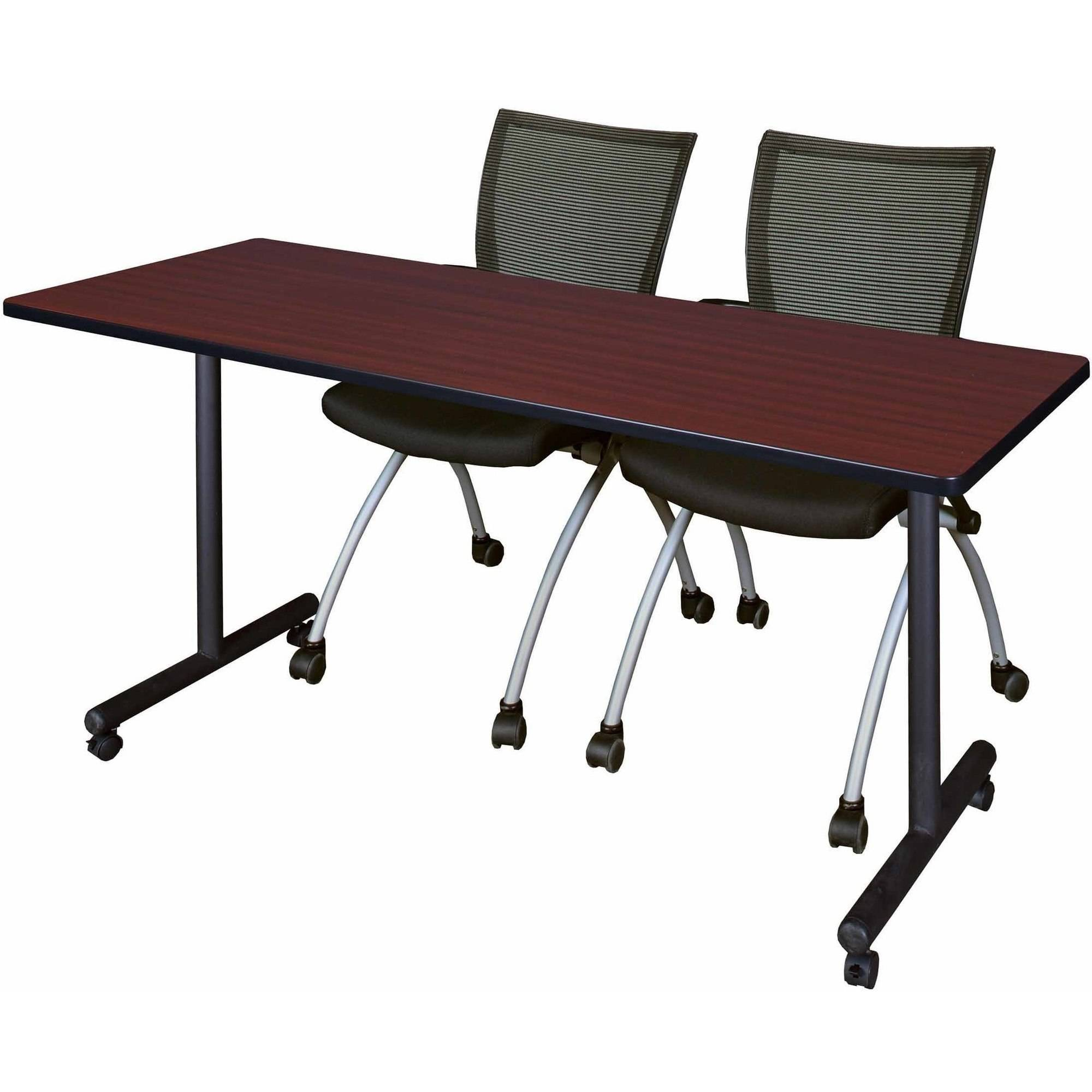"Kobe 72"" x 24"" Mobile Training Table and 2 Black Apprentice Chairs, Multiple Colors"