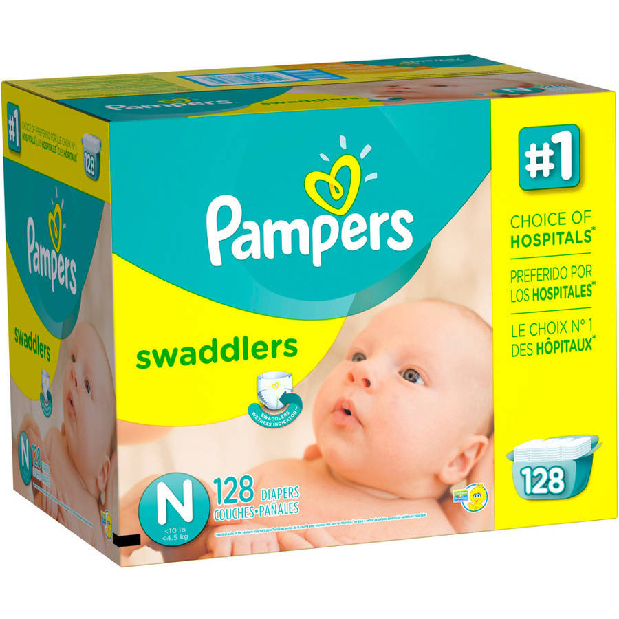 Pampers Swaddlers Diapers, Giant Pack, Newborn, 128 count