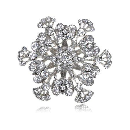 Clear Crystal Rhinestone Sea Ocean Water Coral Flower Fashion Costume Pin Brooch