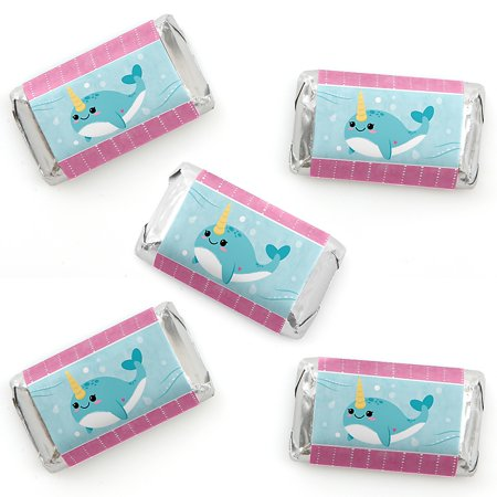Narwhal Girl - Mini Candy Bar Wrapper Stickers - Under The Sea Baby Shower or Birthday Party Small Favors - 40 Count](Under The Sea Baby Shower Theme)