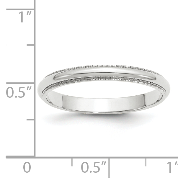 14k White Gold 3mm Milgrain Wedding Ring Band Size 6.00 Classic Half Round Fine Jewelry Gifts For Women For Her - image 2 de 5