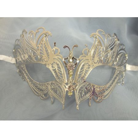 Silver Butterfly Eyes Laser Cut Venetian Mask Masquerade Metal Filigree - Masquerade Dance Decorations