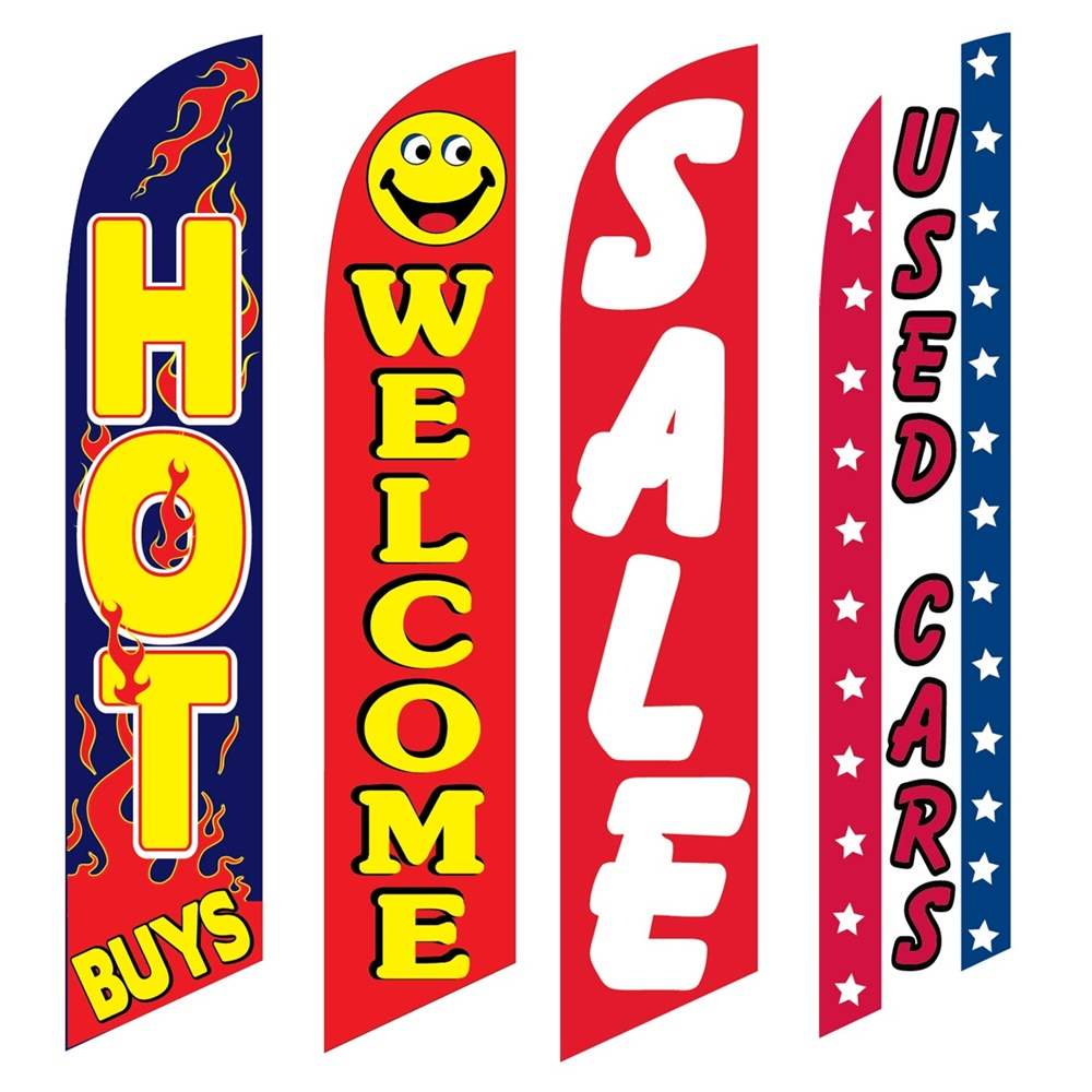 4 Advertising Swooper Flags Hot Buys Welcome Sale Used Cars